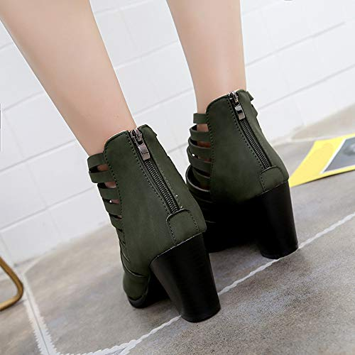 Heel Ankle Hollow 4 Zipper 9 3 Rounded Green Leather Shoes Boots 5 Block Middle Suede 8 6 Size HARRYSTORE Toe School Work Womens Faux 7 0EUvvx