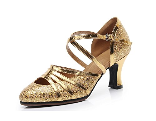 Glitter Heel Latin Strap Dancing Formal Closed Ballroom Gold Minitoo Pumps Ladies Party Cross Shoes Toe 7cm qnFHFRfA