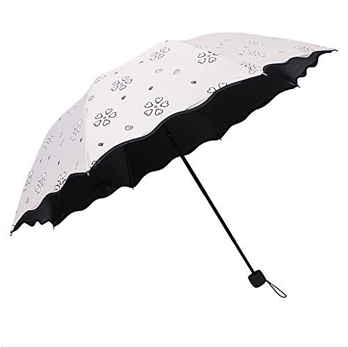 Inoutdoorkit CCU01 Travel Umbrella Parasol for Women Girl Kid Children Student, Magic Water Activated Color Change Flower, Portable Small Foldable Windproof Anti-UV for Beach Camping (Colour Changing Umbrella)