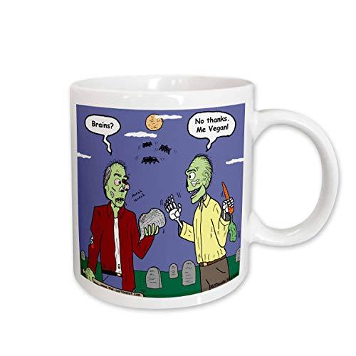 3dRose Halloween Zombie Vegans Ceramic Mug, 11 oz, White]()
