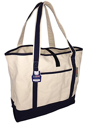 (EcoJeannie Super Strong 100% Cotton Canvas Reusable 3 Bags, 1 Sheet Structure w/Reinforced Double Bottom, 1 Zippered Pocket+2 Unzippered Pockets, 4 Bottle Holders, Closure Strip, Double Sided Handle)