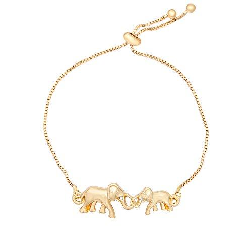 er and Child Elephants Bangle Animal Adjustable Chain Bracelet Jewelry (gold) (Crystal Mother Elephant)