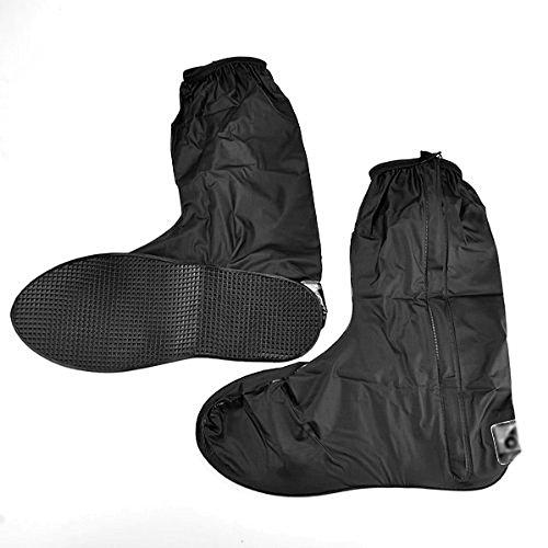 Motorrad-Regenkleidung für Herren, Regen-Überschuhe, Farbe: schwarz, mit seitlichem Reißverschluss, Größe: 44-45