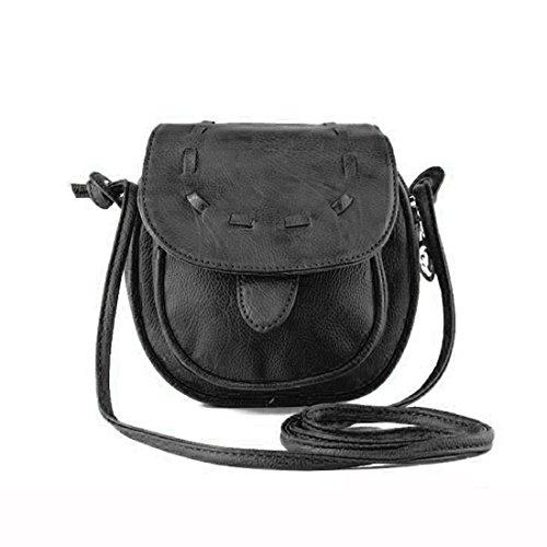 Meily(TM) Lovely Cute Girl Pu Leather Mini Small Adjustable Shoulder Bag Handbag (Black)