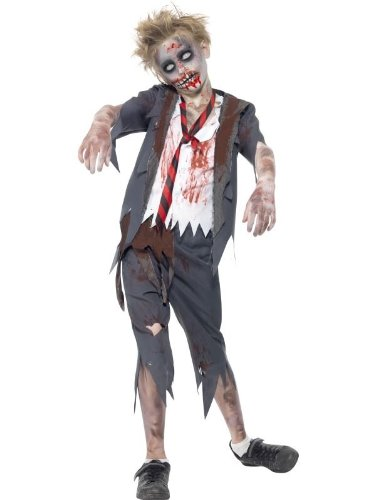 Smiffy's Children's Zombie School Boy Costume, Trousers, Jacket, Mock Shirt and Tie, Serious Fun, Ages 10-12, Size: Large, 43022L