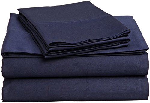 (Rajlinen Luxury Egyptian Cotton 650-Thread-Count Sateen Finish Fitted Sheet & Pillow case Queen Pocket Depth (+12 Inch) Navy Blue Solid)