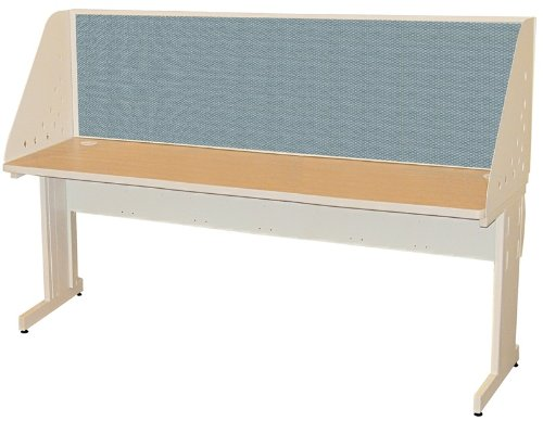 Pronto Pronto School Training Table with Carrel and Lockable Raceway, 72W x 30D - Putty Finish and Slate Fabric by Marvel Furniture