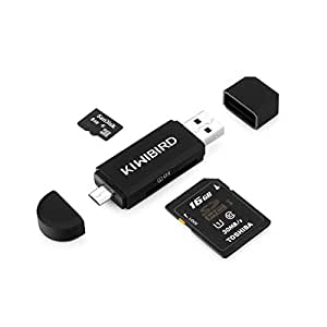 KiWiBiRD Micro USB to USB 2.0 OTG Card Reader, Micro USB & USB 2.0 SD/Micro SD Card Reader for Android Smartphone/Tablet with OTG Function, PC, MacBook and Smart TV - Black