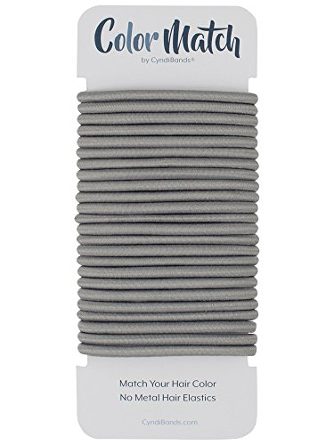Gray No-Metal 4mm Elastic Hair Ties Color Match Ponytail Holders - 24 - Gray Band Hair