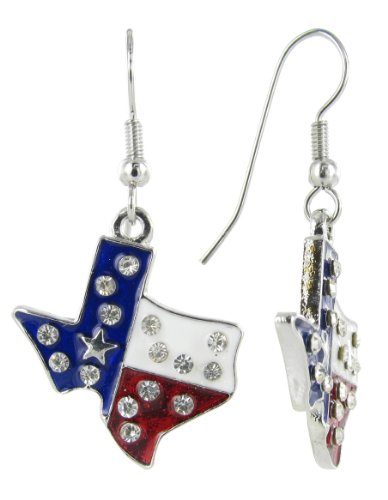 Patriotic Lone Star State Texas USA Fish Hook Earring - Clear Crystals with Red White and Blue Enamel