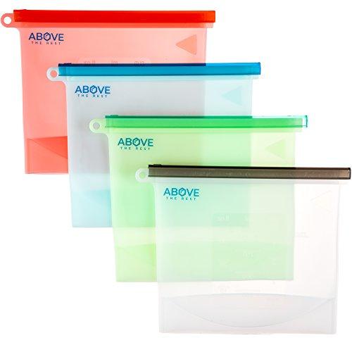 ab2028b0e0da Reusable Silicone Food Bag Set   Premium 4-Pack Airtight Storage ...