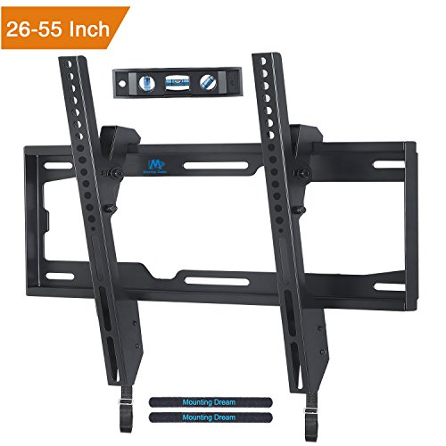 Price comparison product image Mounting Dream MD2268-MK TV Wall Mount Tilting Bracket for Most 26-55 Inch LED, LCD and Plasma TVs up to VESA 400 x 400mm and 88 LBS Loading Capacity, with Torpedo Level