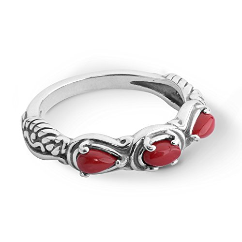 Carolyn Pollack Sterling Red Coral Gemstone 3 Stone Ring Size 8 ()
