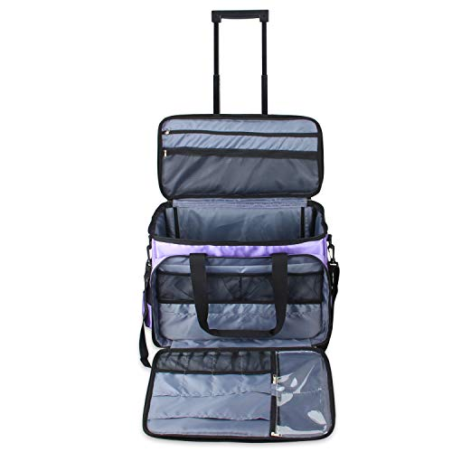 New Luxja Rolling Sewing Machine Bag with Shoulder Strap and Handle, Rolling Tote Bag for Sewing Mac...