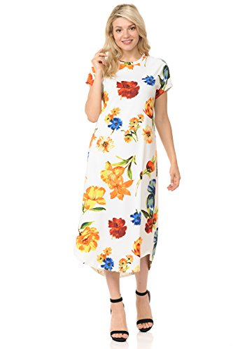 iconic luxe Women's A-Line Short Sleeve Midi Dress Large Floral Ivory Yellow