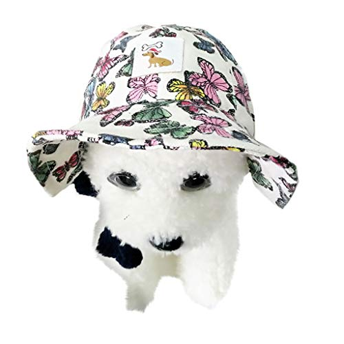(Longay Pet Visor Hat Dog Print Leisure Hat Windproof Travel Sun Hats for Small Dogs (White))