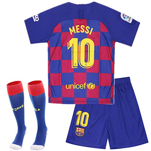 New Season Barcelona #10 Messi Kids/Youth Home Soccer Jersey Shorts Socks Red/Blue (5-14Years)