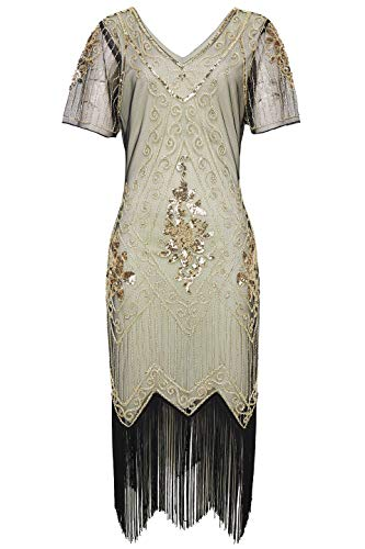 (BABEYOND 1920s Art Deco Fringed Sequin Dress 20s Flapper Gatsby Costume Dress (Beige and Gold,)