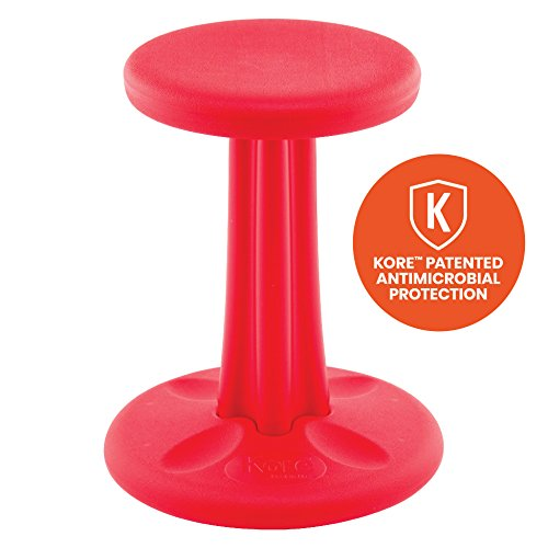 Kore Patented WOBBLE Chair | Now with Antimicrobial Protection | Stem Flexible Seating | Made in the USA - Active Sitting for Kids - Junior, Red (16in)