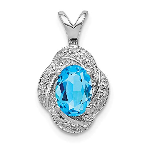 (Swiss Blue Topaz Solitaire Swirl Pendant Gemstone Drop Charm Fashion Diamond Sterling Silver)