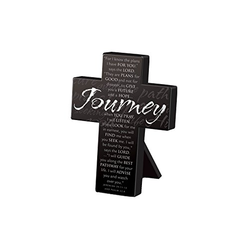 Lighthouse Christian Products Small Metal Black Journey Desktop Cross, 3 3/4 x 5