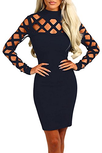 HOTAPEI Womens Hollow out Sleeve Bodycon