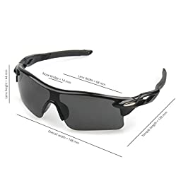 J+S Active PLUS Cycling Outdoor Sports Athlete\'s Sunglasses, 100% UV protection (Black Frame / Black Lens)