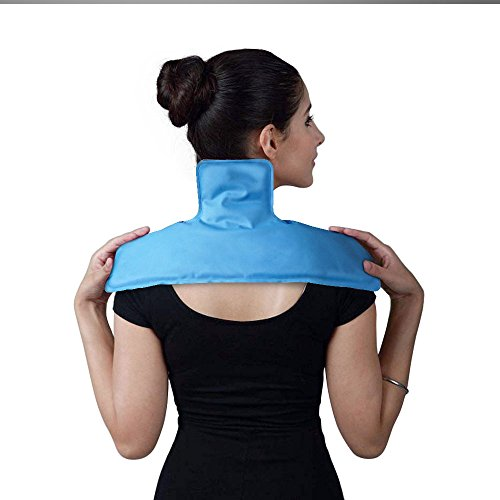 Neck and Shoulder Ice Pack, WORLD-BIO Hot and Cold Gel Pad Full Coverage Therapy Wrap for Pain, Muscle, Stress Relief - Microwavable and Freezable (17.5