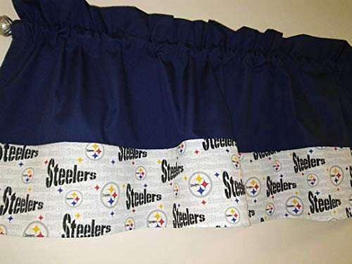 Blue with Steelers NFL football team fabric on the bottom Two tones combo colored, Window treatment, sports, playroom, children, Basement, Man-cave decor 55 wide. Teens