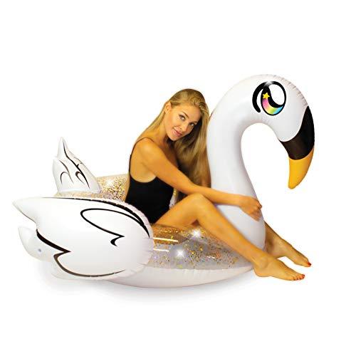 Poolcandy Inflatable Glitter Animal Collection Golden Swan - Jumbo Pool Float | Swim Ring - Measuring 56