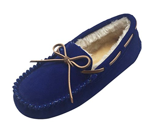 Dark Doug Shoes Luxehome Comfortable Loafers Slipper Moccasin Blue Flats Leather Winter Women's 8z6A8Wqxv