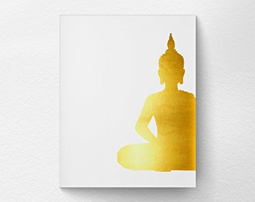 Zen Buddha Wall Art Print Poster Home Decor, Golden Buddha Print, Yoga Art, 8x10 Print-Not Real Gold Foil
