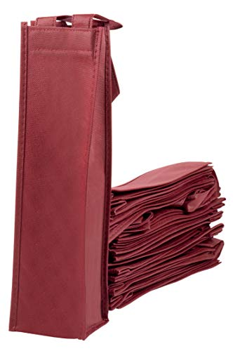 Wine Tote Bags - 20-Pack Non-Woven Single Bottle Wine Totes, Reusable Wine Carrying Bags, Ideal Bottle Gift Bags for Wedding, Birthday, Housewarming, Dinner Parties, Wine Accessories, Burgundy by Juvale