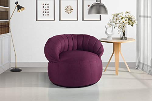 Large Linen Fabric Living Room Bean Bag Chair for Adults and Children (Pink) by Divano Roma