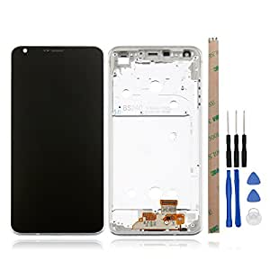 For LG G6/H870 LCD Touch Screen Digitizer with Silver Frame Full Assembly Broken Screen Replacement Parts - Black