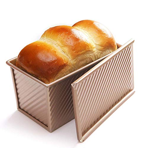 CAN_Deal Loaf Pan With Cover/Bread Baking Mould Cake Toast/Non-Stick Toast Box with Lid For 450g Dough, Vented Hole for Rapid Baking, Made from Heavy-gauge Steel (Wavy Style) ()
