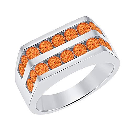 Orange Sapphire Wedding Set - Men's 14k White Gold Plated Channel Set Round Orange Sapphire Wedding Band Anniversary Ring 925 Sterling Silver