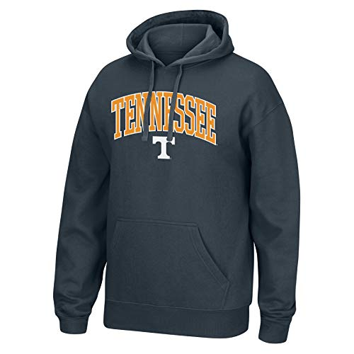 (Top of the World NCAA Men's Tennessee Volunteers Applique Arch Over Hoodie Charcoal Heather X Large)