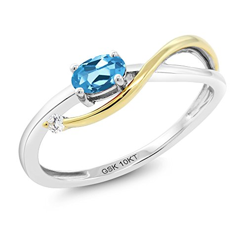 Gem Stone King 10K 2-Tone Gold 0.32 Ct Swiss Blue Topaz and Diamond Engagement Ring (Size 6)
