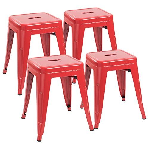 JUMMICO Metal Bar Stools Indoor-Outdoor 18 Inches Stackable Restaurant Stools Industrial Backless Barstools Set of 4 for Commercial Trattoria,Bistro (Red)