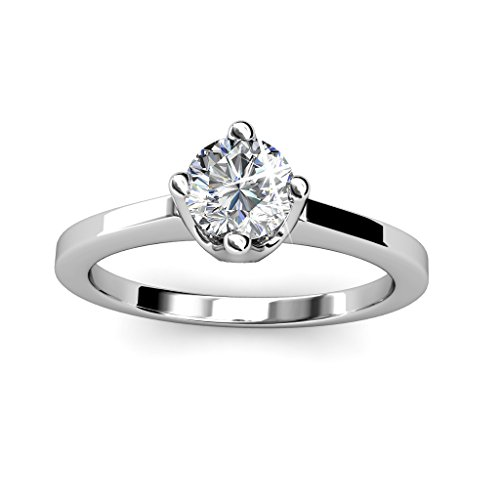 "Cate & Chloe Lila ""Radiant"" 18k White Gold Plated Ring, Jewelry For Women, Ring, Stackable Rings, Gold Rings, Solitaire Ring, Engagement Ring, Silver Ring, Silver Jewelry (6) - msrp (Designer Solitaire Ring)"