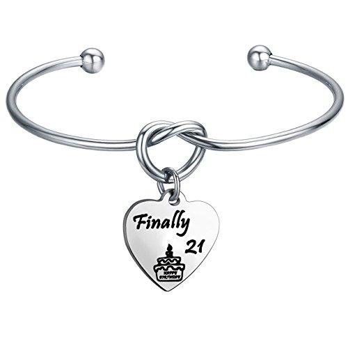 Birthday Heart 21st (FEELMEM Birthday Gifts for Her Birthday Bracelets,12th Sweet 16 18th 21st,Love Knot with Heart Charm Bangle Bracelet, Ideas (21st Charm-Silver))