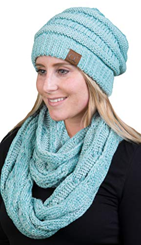 aHS-6020a-9054 Regular Beanie Matching Scarf Winter Set Bundle - Mint (Metallic) ()