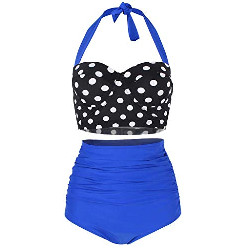WOCACHI Womens Polka Dot High Waist Swimsuit, Bikinis Swimwear Female Retro Beachwear Conservative Bikini Set 2019 New Summer Deals Under 10 Dollars Beach Bathing Suit ()
