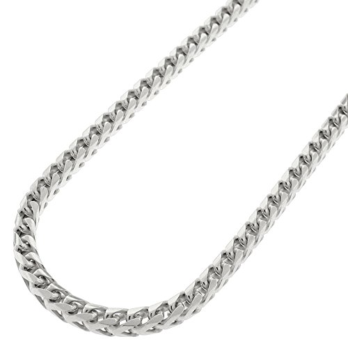Sterling Silver Italian 3.5mm Solid Franco Square Box Link 925 Rhodium Necklace Chain 20'' - 30'' (30) by In Style Designz