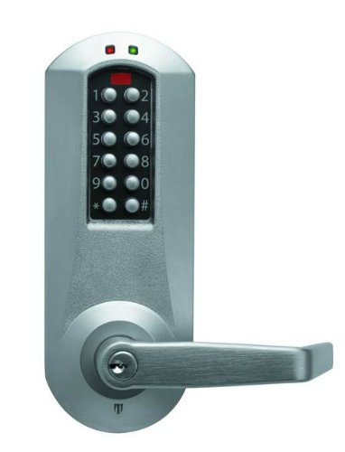 Kaba E-Plex 5000 Series Cylindrical Electronic Pushbutton Lock, Interior Combination Change—D.O.D., 13mm Throw Latch, Floating Face Plate, 70mm Backset, Kaba Cylinder (Schlage ''C'' Keyway) Included, Winston Lever, Satin Chrome Finish by E-Plex