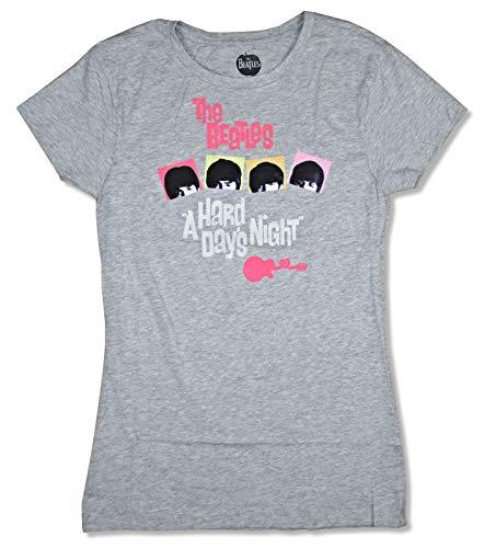 Beatles Hard Day's Night Neon Girls Juniors Heather Grey T Shirt (XL)