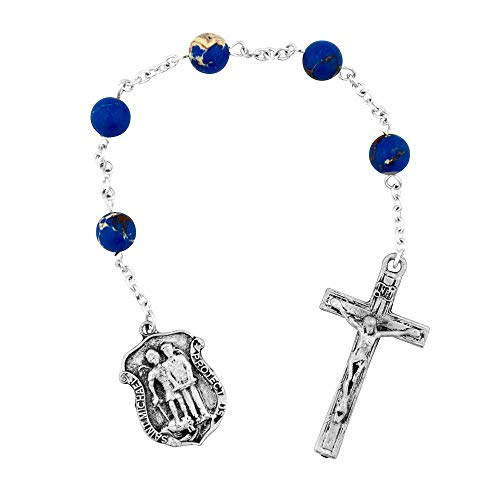 Police Officer Chaplet   Beautiful Blue Beads   Catholic Prayer Rosary   A Great Gift for Protection or Memorial   Christian Jewelry