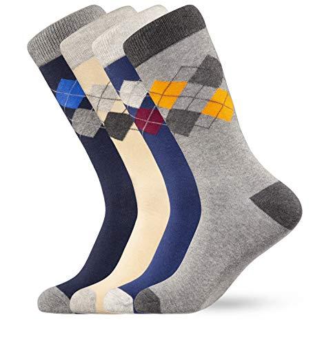 Finch Supply Co. Mens Dress Socks 4-Pack Cotton Size 8-13 (Argyle)