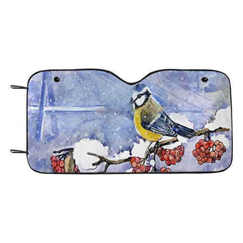 (INTERESTPRINT Birds in Winter Berries Car Shades for Front Windows Front Window Sunshades UV Sun Protection)